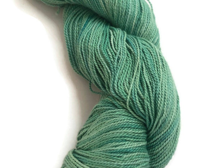 Hand-dyed cotton yarn, 400 yards, in shades of greens