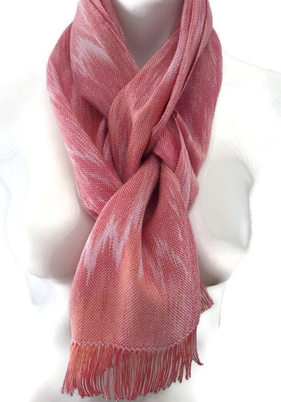 Hand-dyed, handwoven, fringed, Tencel scarf in shades pinks -HSS2