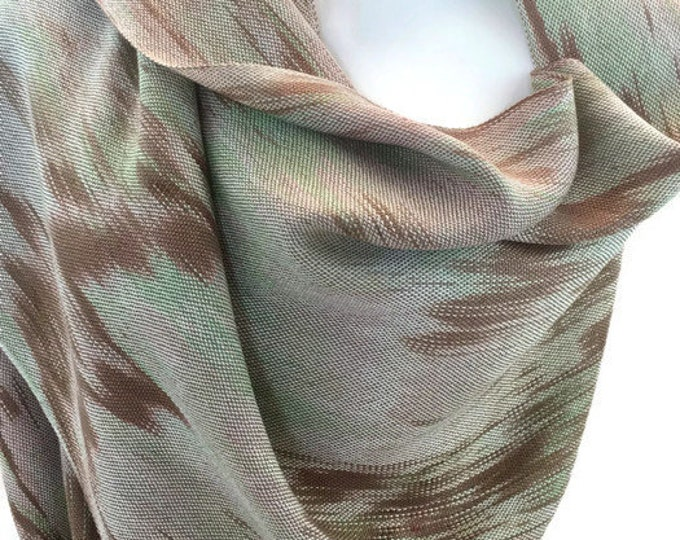 Hand-dyed, handwoven, fringed, Tencel scarf/wrap in shades of beige, brown, and green -TFS17