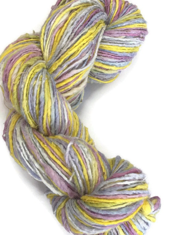 Hand-dyed, cotton and rayon, worsted weight yarn, 15 yard mini-skeins and 200 yards, in shades of yellow, grey, pink, and lavender -020