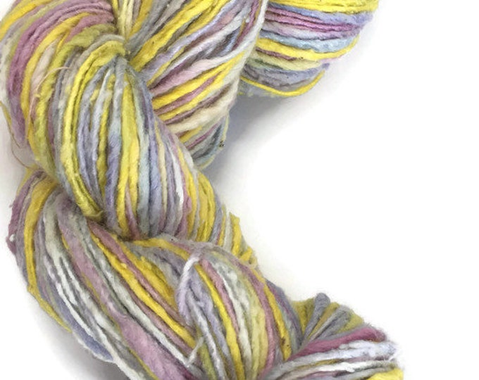 Hand-dyed, cotton and rayon yarn, 200 yards, in shades of yellow, grey, pink, and lavender -020