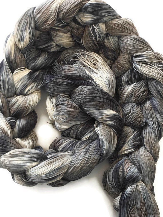 Hand-dyed, pre-wound weaving warp, 10/3 cotton, 400 ends, 7 3/4 yards long, in shades of black, gray, taupe, and natural -DW119
