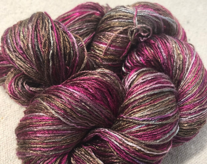 Hand-dyed rayon yarn, rayon floss, 6 strand/floss, 500 yards, in shades of burgundy, dark pink, pink, brown, taupe, silver grey