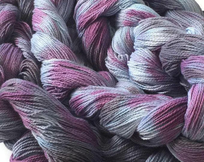 Hand-dyed, pre-wound weaving warp, 4/2 cotton, 200 ends, 7 7/8 yards long, in shades of blue, purple, and gray -DW52