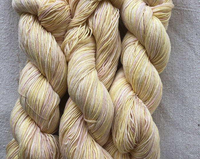 Hand-dyed yarn, 10/3 cotton, 500 yard skeins, in shades of yellow and beige