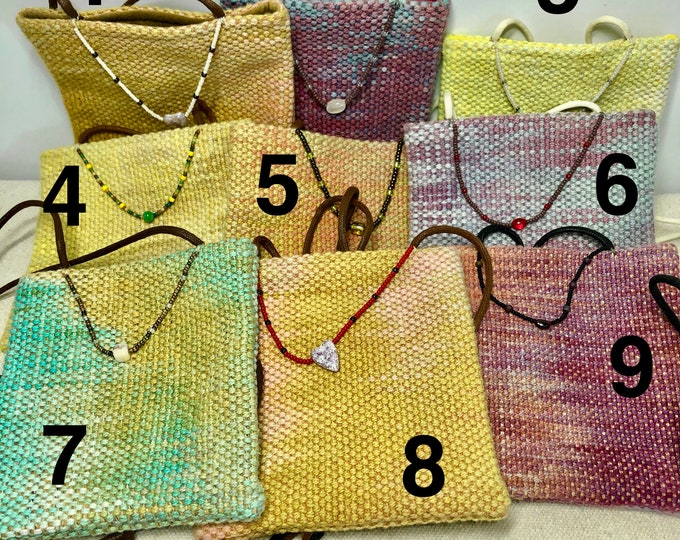Cross-body little bag, hand-dyed and handwoven, several different color ways
