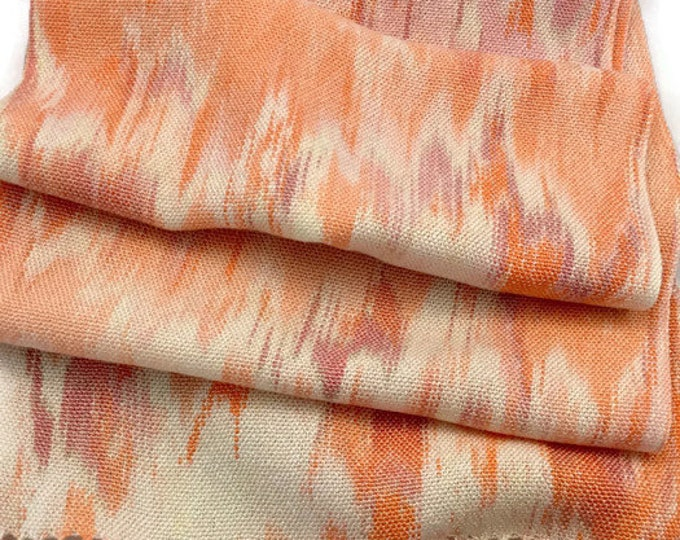 Hand-dyed, handwoven, fringed, Tencel scarf in shades of cream, orange, pink, and raspberry -TFS22