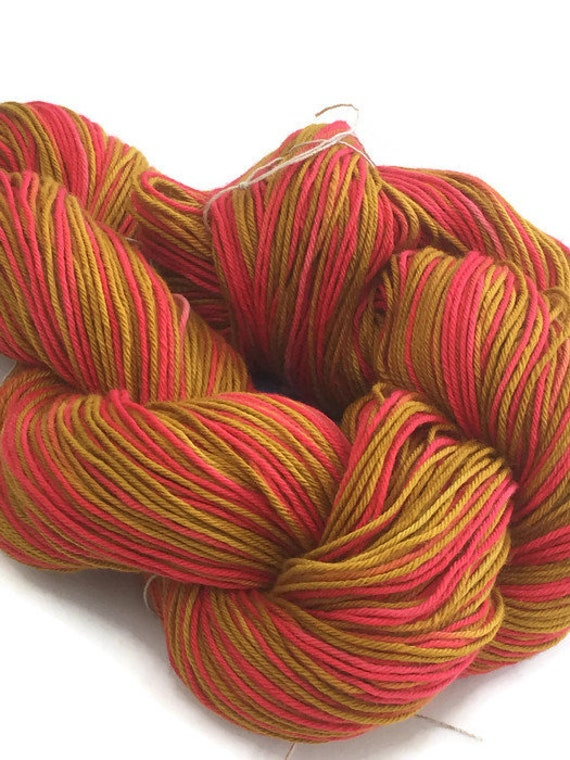 Hand-dyed, fingering yarn, cotton, 20 yard mini-skein and 300 yard skeins, in crimson, hot pink, marigold, and dark goldenrod -81