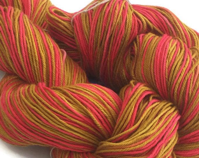 Hand-dyed yarn, cotton, 300 yard skeins, in crimson, hot pink, marigold, and dark goldenrod -81