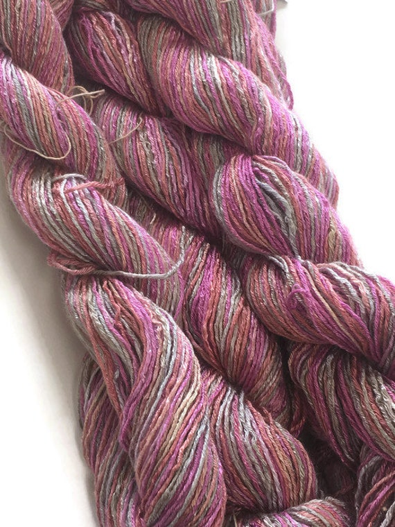 Hand-dyed, 6-ply rayon floss, sport weight, 200 yard skeins, in shades of pink, salmon, peach, and gray -DY22