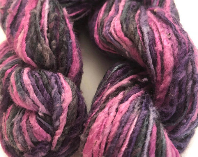 Hand-dyed, cotton and rayon, thick single ply, 100 yard skeins, in shades of pink, blue, and purple