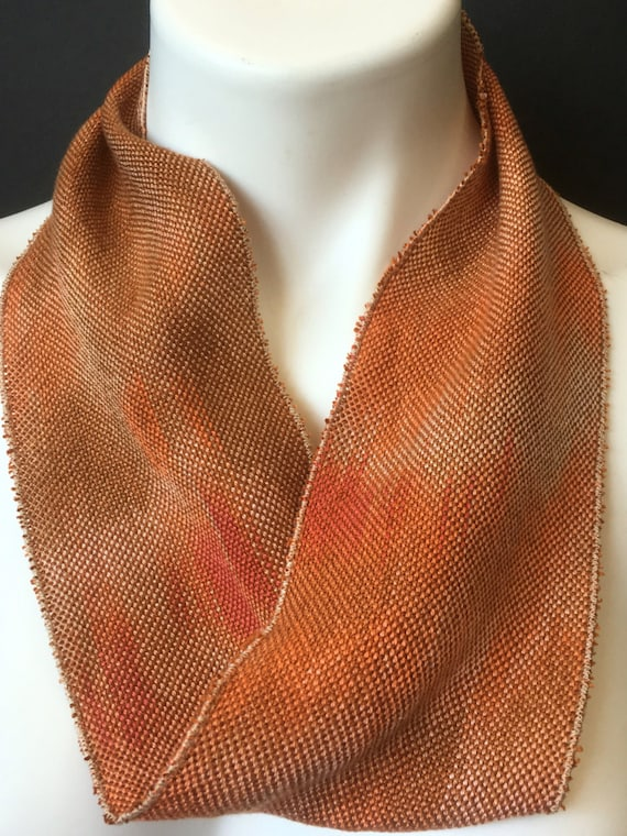 Tencel skinny infinity scarf, hand-dyed and handwoven, in shades of orange and brown -SIS29