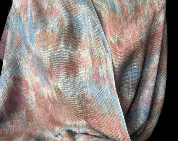 Hand-dyed, handwoven, fringed, Tencel scarf or wrap in brown, blue, rose, and light green -TFS11
