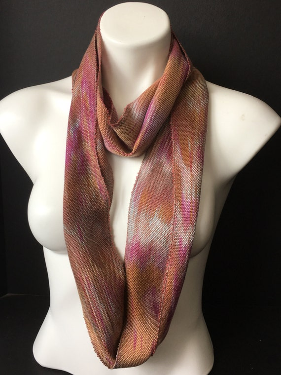 Skinny, Tencel, infinity scarf, hand-dyed and handwoven, in shades of brown, gold, bronze, mauve, and fuchsia -LIS33