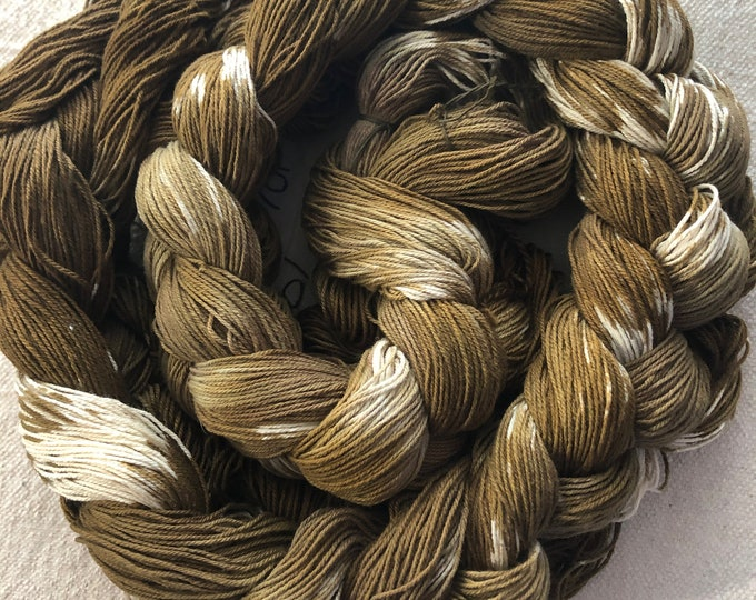 Hand-dyed, pre-wound warp chain, 10/3 cotton, 200 ends and 400 ends, 5 5/8 yards, in shades of browns and natural