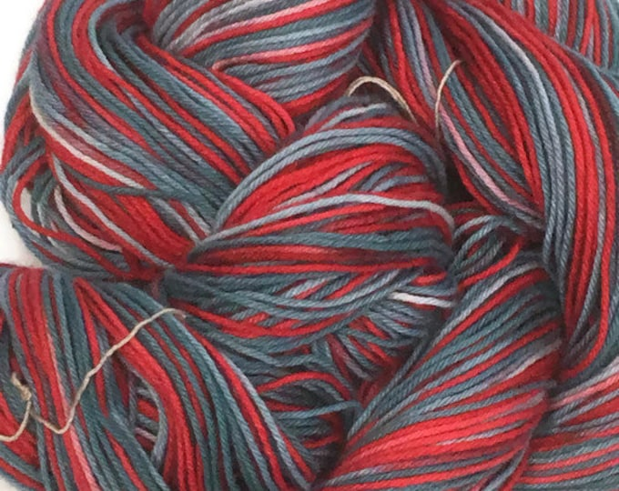 Hand-dyed, cotton yarn, 4-ply, 300 yard skeins, in shades of blues and reds -80