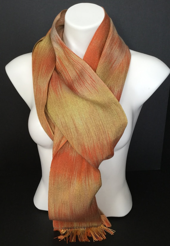 Hand-dyed, handwoven, fringed, tencel scarf in shades of yellow, orange, and brown -HSS8