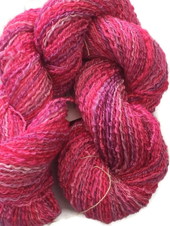 Hand-dyed, cotton and rayon, boucle, 2-ply, sport weight, in shades of pink and lavender -038
