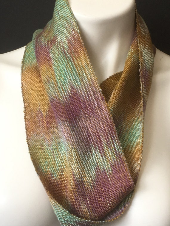 Skinny infinity scarf, hand-dyed and handwoven, Tencel, in shades of golden brown, purple, light green -SIS14