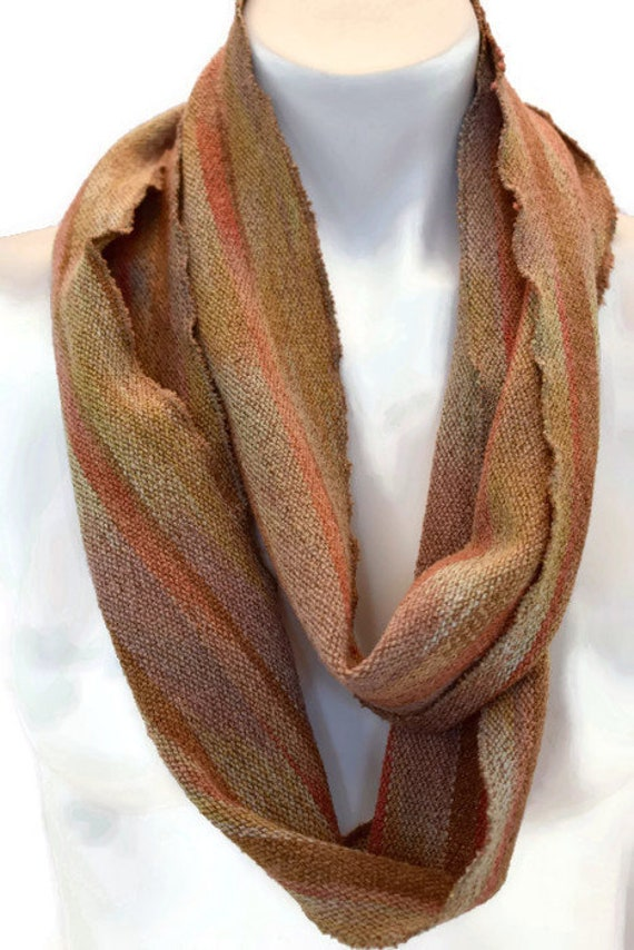 Hand-dyed, handwoven, striped, cotton and rayon, skinny infinity scarf in shades of browns and oranges -LIS50