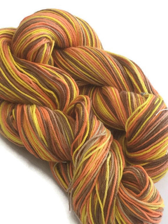 Hand-dyed, cotton 4-py, fingering yarn, 20 yard mini-skeins and 300 yard skeins, in yellow, brown, and orange -33