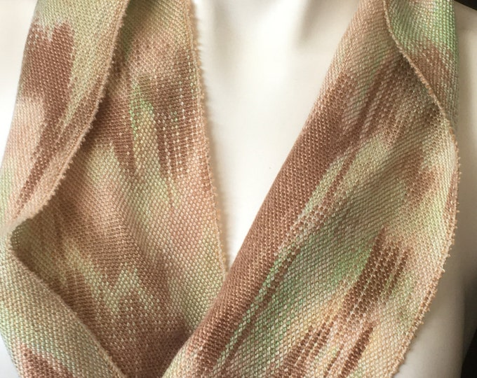 Hand-dyed, handwoven, Tencel, infinity scarf in shades of brown, beige, and green -SIS30