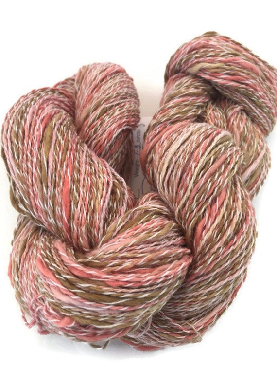 Hand-dyed, cotton and synthetic, fingering yarn, 400 yards, in salmon, pink, and brown -062