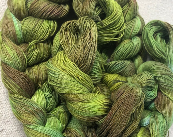 Hand-dyed, pre-wound weaving warp chain, 16/3 cotton, 4 3/4 yards, 200 ends, in shades of greens and browns