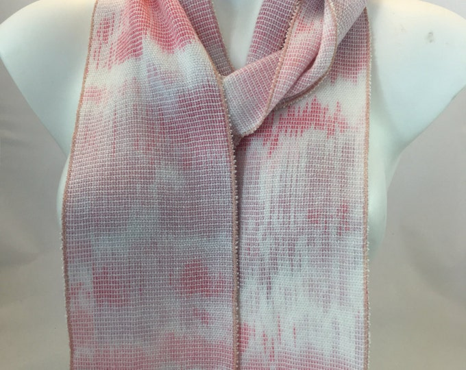 Hand-dyed, handwoven skinny rayon scarf in shades of pink, lavender, and white -SES21