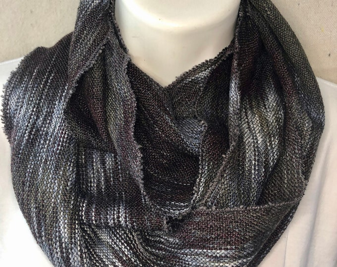 Hand-dyed, handwoven infinity scarf, cotton, rayon, and tencel, lightweight, in shades of blacks, greys, light blue grey, and white