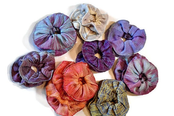 Hair scrunchies, hand-dyed and handwoven, several color ways, blues and pinks, purples, oranges, yellow and blue, natural, blue and lavender