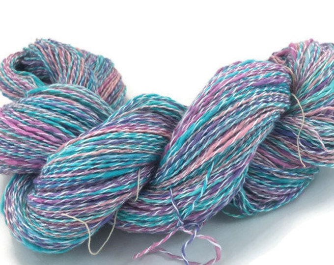 Hand-dyed yarn, thick and thin, cotton and synthetic, 20 yard mini-skeins and 400 yard skeins, in turquoise, grape, and pink -067