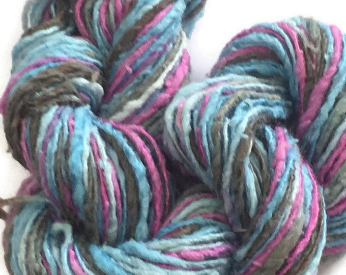 Hand-dyed, cotton and rayon yarn, in shades of turquoise, mulberry, and charcoal -054