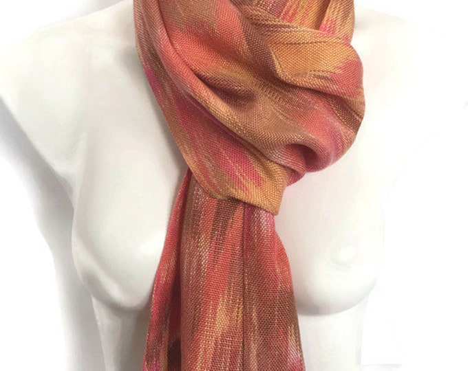 Hand-dyed, handwoven, Tencel, fringed scarf, in pink, orange, yellow, and brown -HSS48