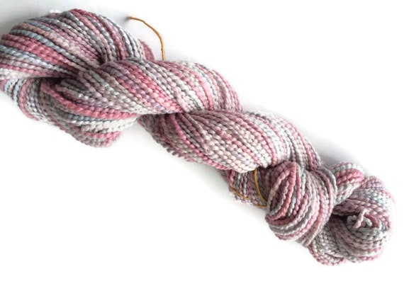Hand-dyed cotton softball, 20 yard mini-skein, 120 yard skein, in pink and grey -0005