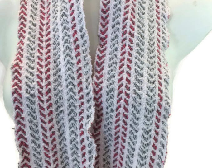 Handwoven, cotton, striped, infinity scarf in white, hot pink, and grey -MIS80