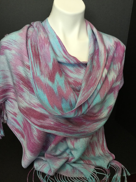 Hand-dyed, handwoven, fringed Tencel scarf/warp in turquoise, mauve, and pink -TFS6