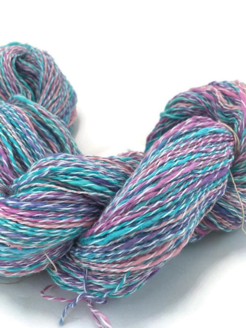 grape cotton and synthetic fingering yarn thick and thin in turquoise and pink -067 Hand-dyed 20 yard mini-skeins and 400 yard skeins