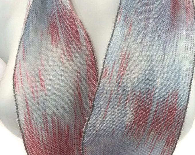 Hand-dyed, handwoven, Tencel, skinny infinity scarf in shades of blues and pink -SIS73