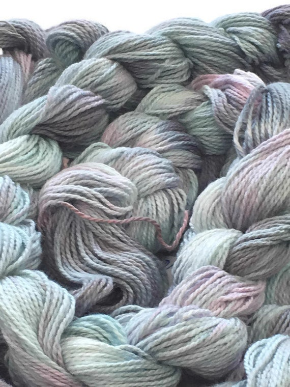 Hand-dyed, pre-wound weaving warp, 4/2 cotton, 100 ends, in shades of light blue, grey, and pink -DW46