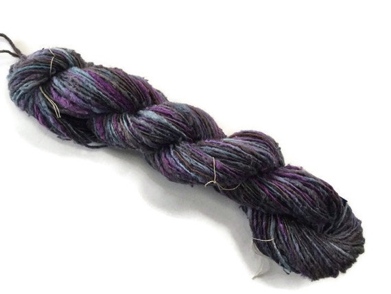 Hand-dyed rayon and cotton worsted yarn in grey, blue, and purple- 0059