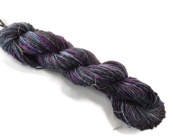 Hand-dyed rayon and cotton yarn in grey, blue, and purple- 0059