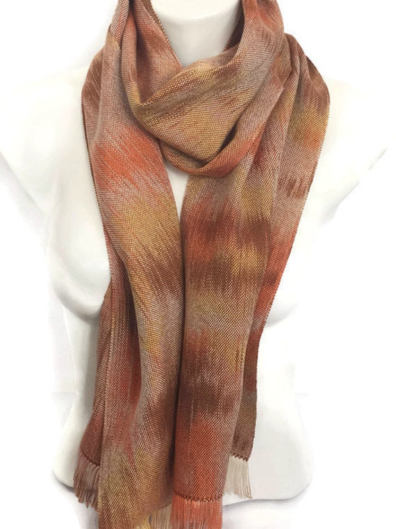 Hand-dyed, handwoven, Tencel scarf, lightweight, fringed, in shades of orange, brown, and yellow -HSS21