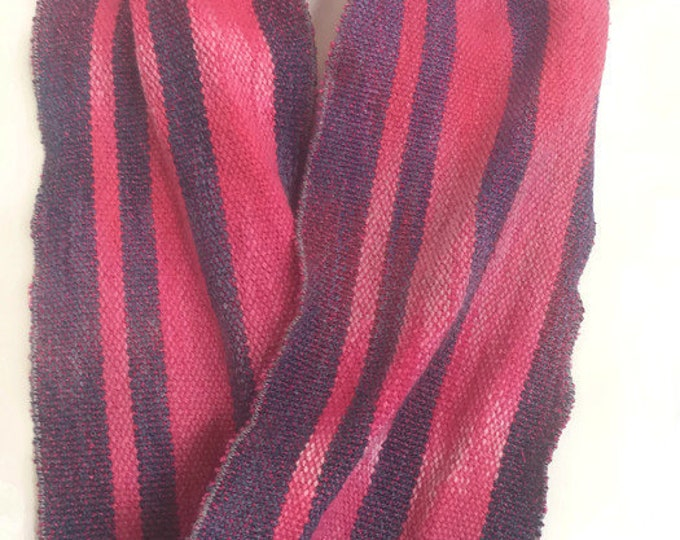 Hand-dyed, handwoven, cotton and rayon, infinity scarf, striped, in dark pinks and blue -SIS10