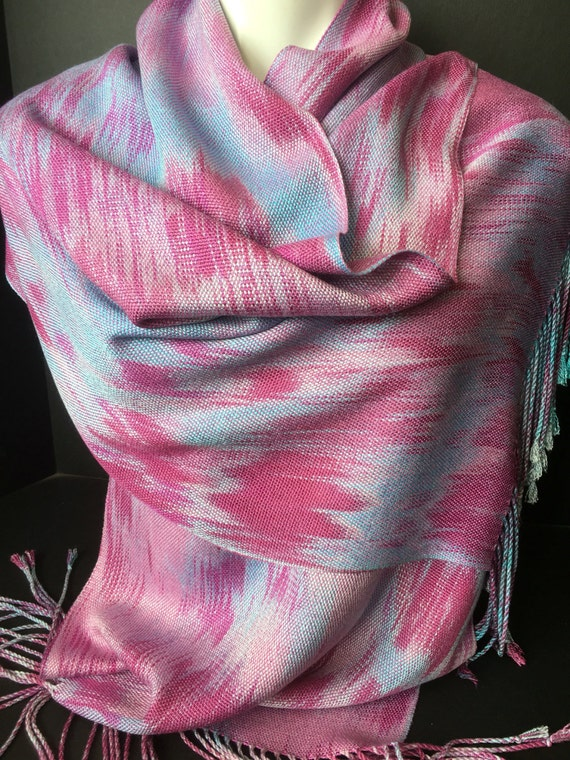 Tencel scarf/wrap, hand dyed and handwoven, fringed, in shades of mauve, pink, and blue. -TFS7