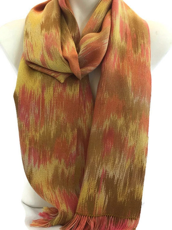 Hand-dyed, handwoven, fringed, Tencel scarf in shades of yellow, pink, salmon, and gold -HSS25