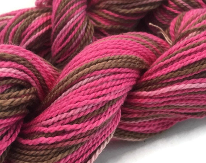 Hand-dyed, cotton yarn, 2-ply, 200 yards, in brown and pinks -032