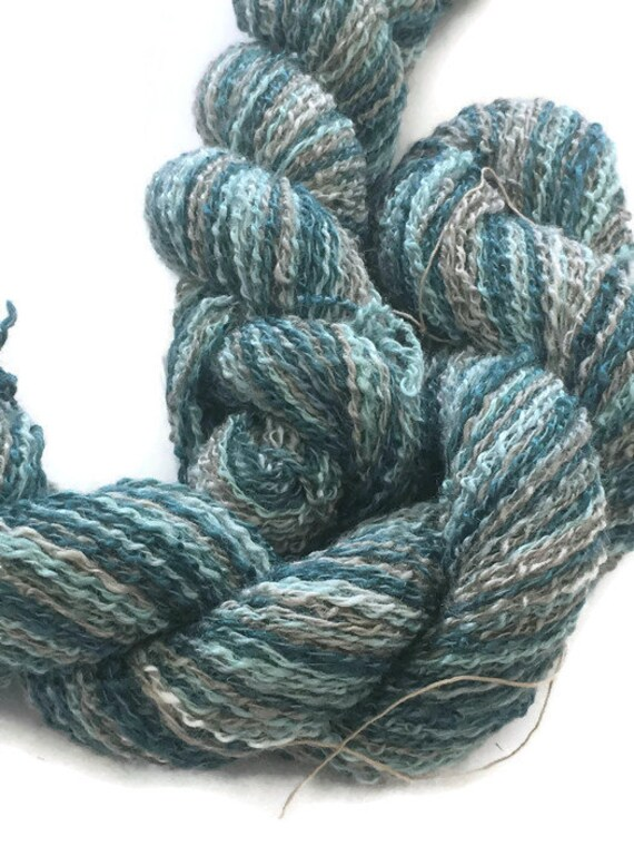 Hand-dyed, cotton and rayon, boucle, sport weight, 20 yard mini-skeins and 200 yard skeins, in shades of greens, gray, and beige -DY39