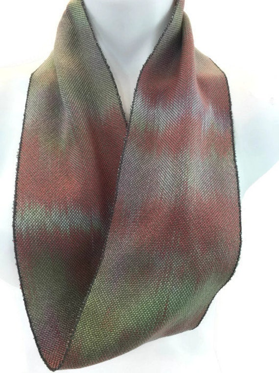 Hand-dyed, handwoven, Tencel, skinny infinity scarf in shades of green, burnt orange, and lavender -SIS79