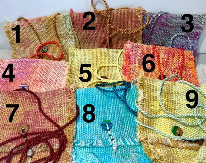 Crossbody little bag, hand-dyed and handwoven, several different coloways
